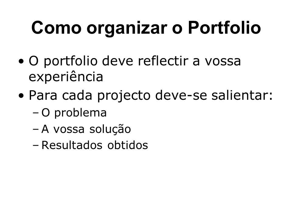 Como organizar o Portfolio