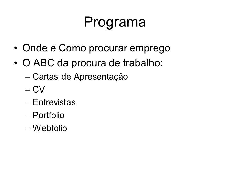 Programa Onde e Como procurar emprego O ABC da procura de trabalho: