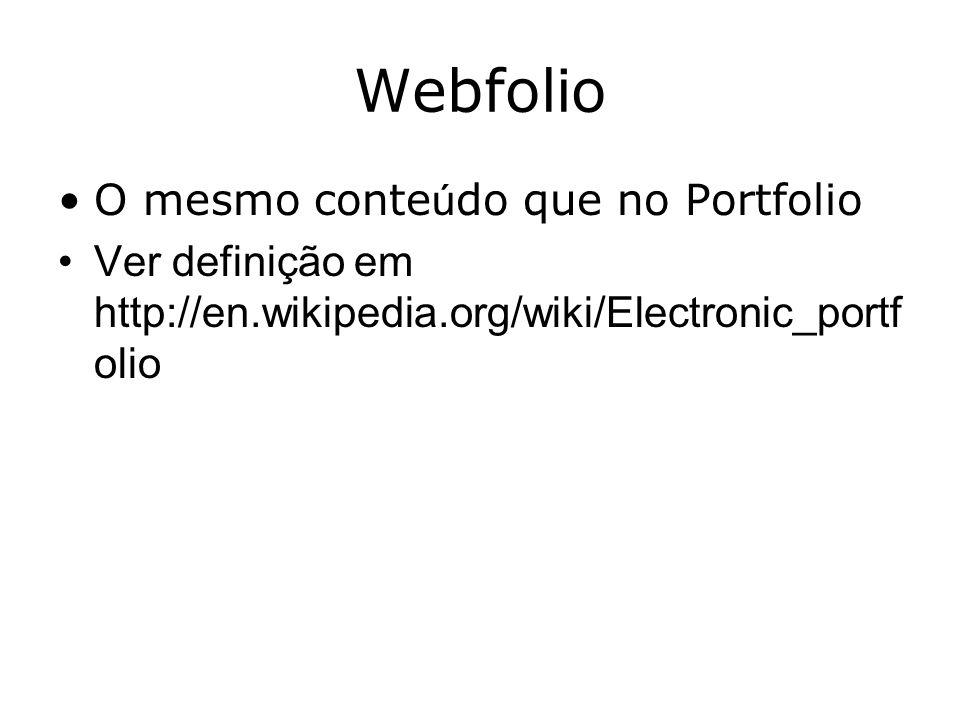 Webfolio O mesmo conteúdo que no Portfolio