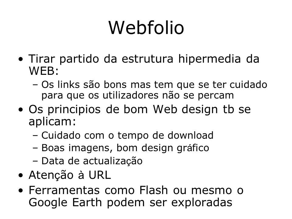 Webfolio Tirar partido da estrutura hipermedia da WEB: