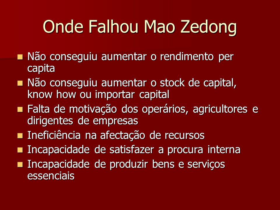 Onde Falhou Mao Zedong Não conseguiu aumentar o rendimento per capita