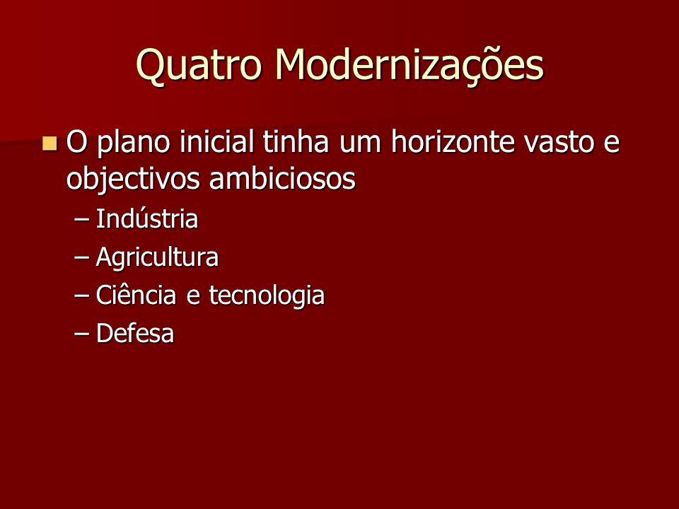 Quatro Modernizações O plano inicial tinha um horizonte vasto e objectivos ambiciosos. Indústria.