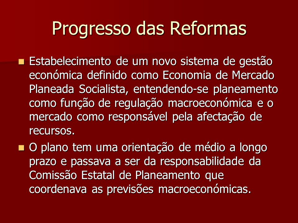 Progresso das Reformas