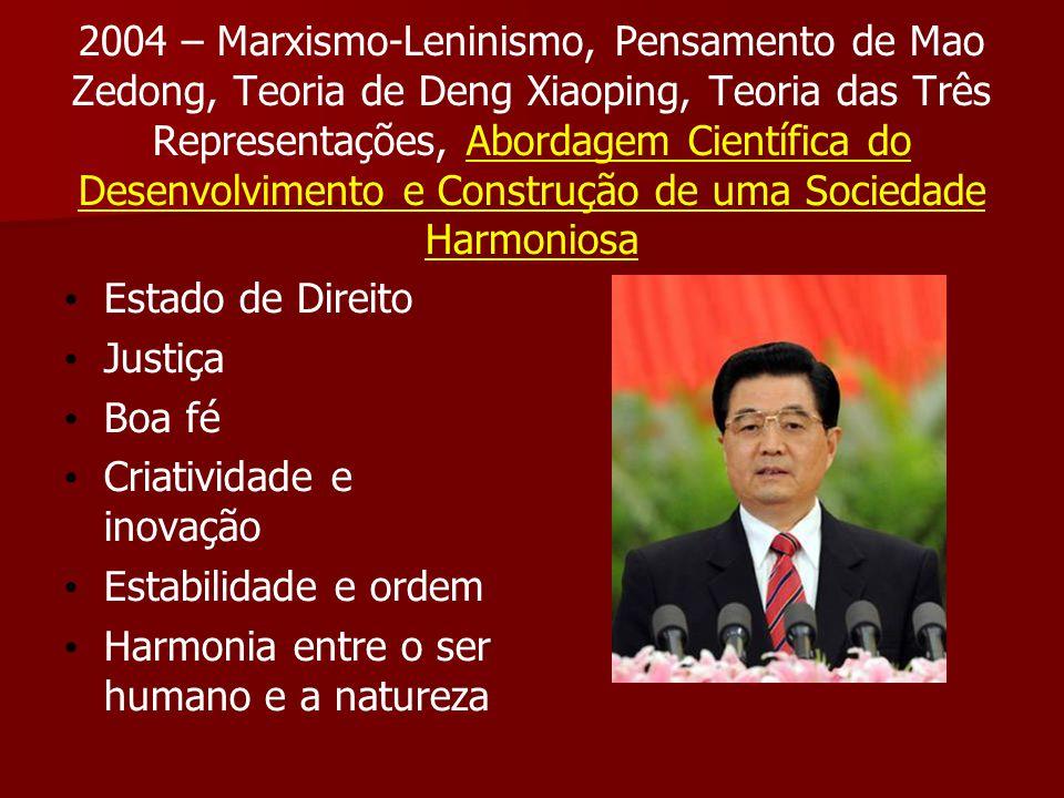 2004 – Marxismo-Leninismo, Pensamento de Mao Zedong, Teoria de Deng Xiaoping, Teoria das Três Representações, Abordagem Científica do Desenvolvimento e Construção de uma Sociedade Harmoniosa