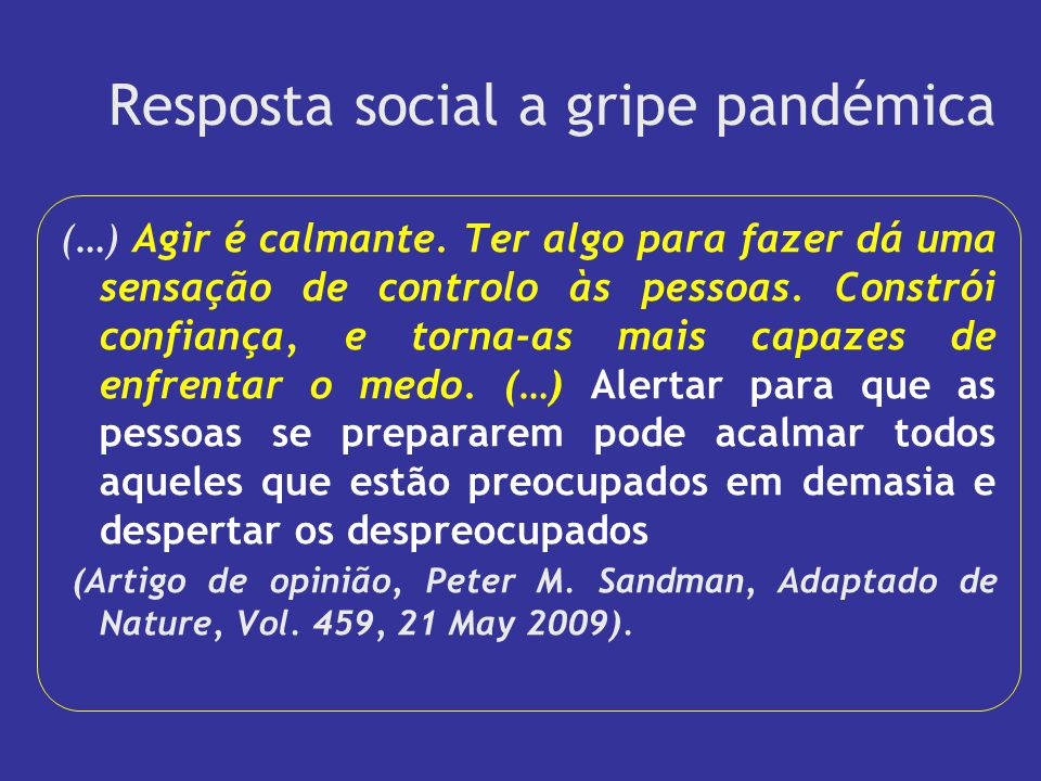 Resposta social a gripe pandémica