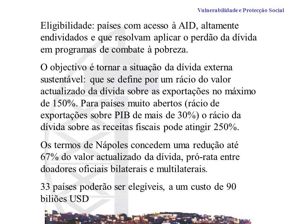 Eligibilidade: países com acesso à AID, altamente endividados e que resolvam aplicar o perdão da dívida em programas de combate à pobreza.