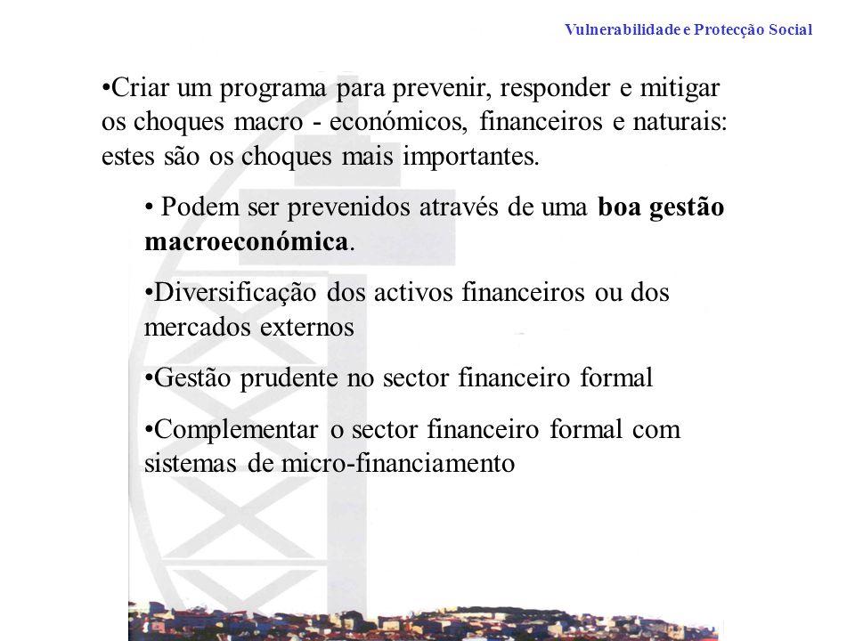 Criar um programa para prevenir, responder e mitigar os choques macro - económicos, financeiros e naturais: estes são os choques mais importantes.