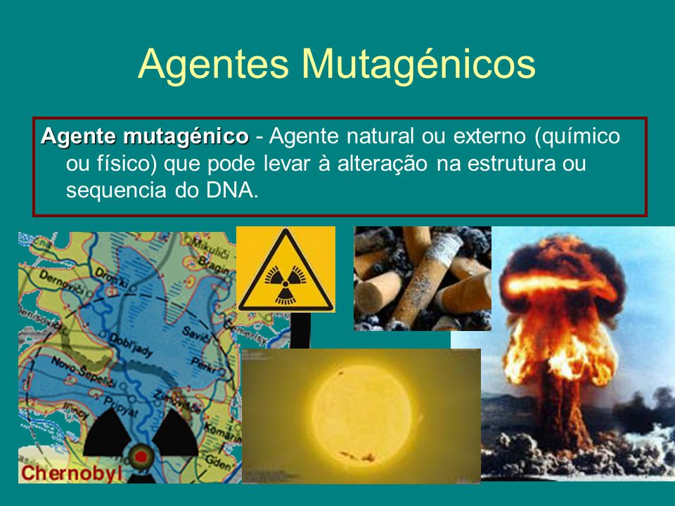 Agentes Mutagénicos Agente mutagénico - Agente natural ou externo (químico ou físico) que pode levar à alteração na estrutura ou sequencia do DNA.