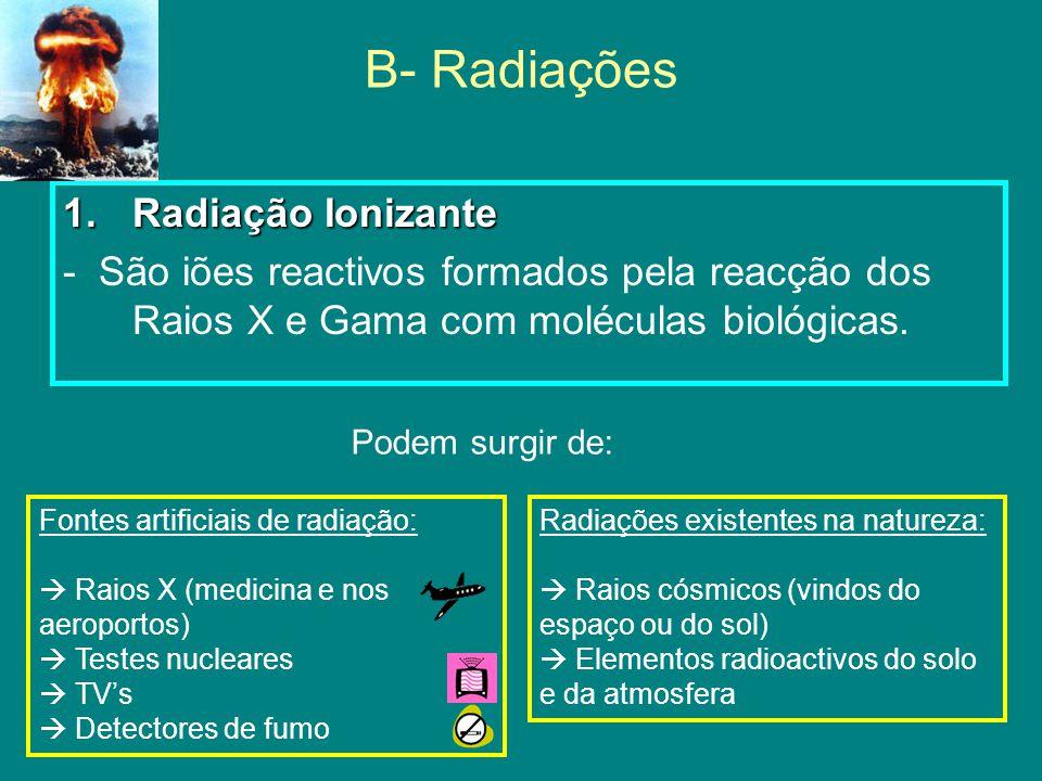 B- Radiações Radiação Ionizante