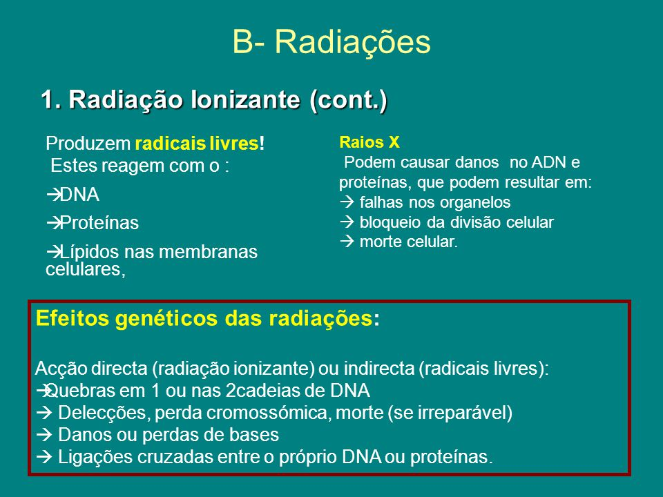 B- Radiações 1. Radiação Ionizante (cont.)
