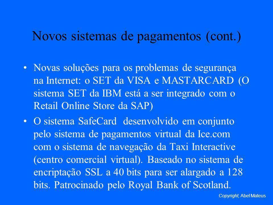 Novos sistemas de pagamentos (cont.)