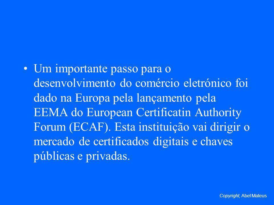 Um importante passo para o desenvolvimento do comércio eletrónico foi dado na Europa pela lançamento pela EEMA do European Certificatin Authority Forum (ECAF). Esta instituição vai dirigir o mercado de certificados digitais e chaves públicas e privadas.