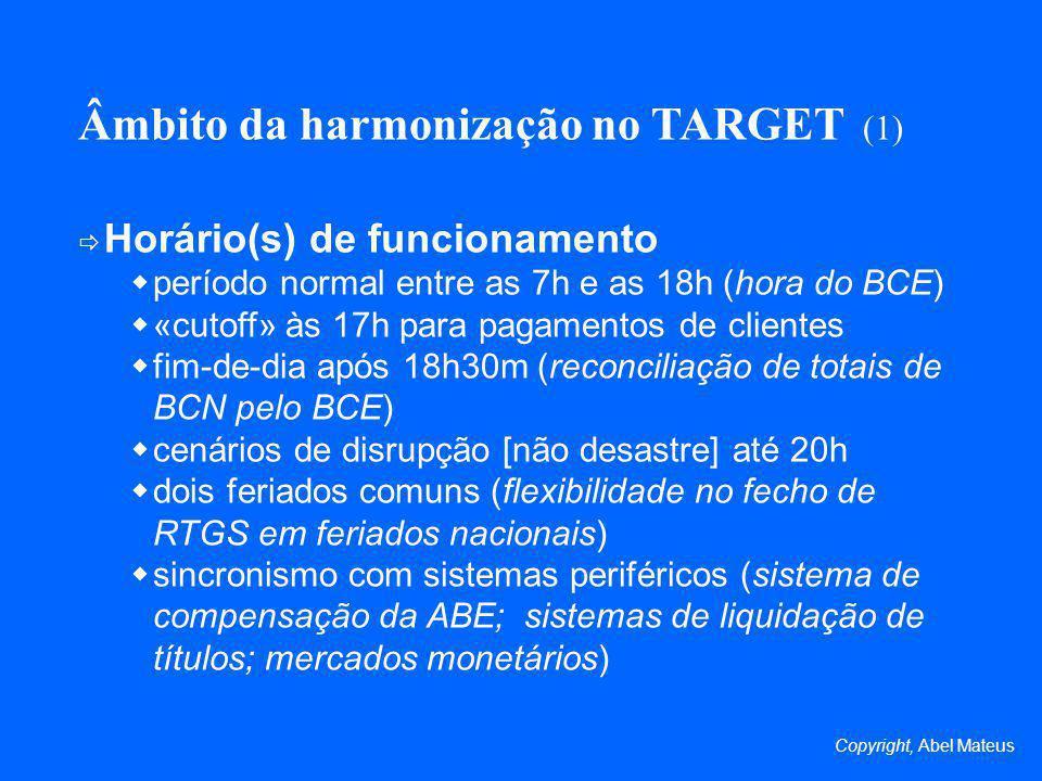 Âmbito da harmonização no TARGET (1)