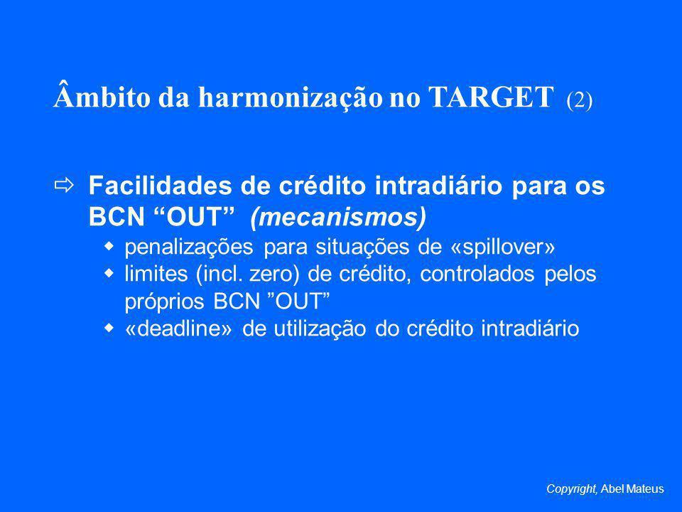 Âmbito da harmonização no TARGET (2)