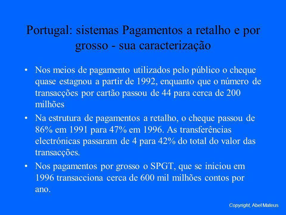 Portugal: sistemas Pagamentos a retalho e por grosso - sua caracterização