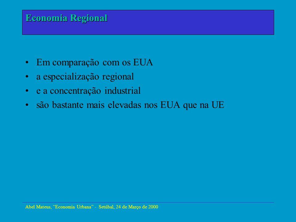 Em comparação com os EUA a especialização regional