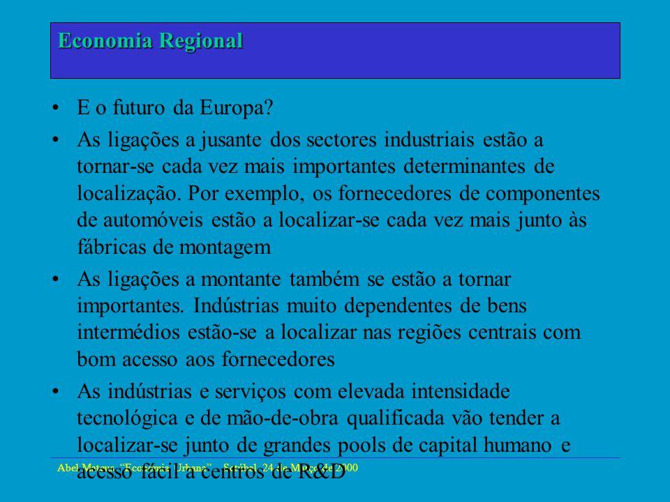 Economia Regional Economia Urbana E o futuro da Europa