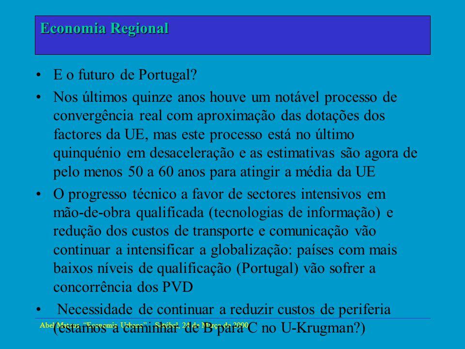 Economia Regional Economia Urbana E o futuro de Portugal