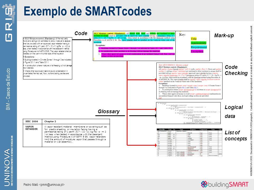 Exemplo de SMARTcodes Code Mark-up Code Checking BIM - Casos de Estudo
