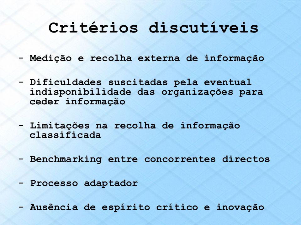 Critérios discutíveis