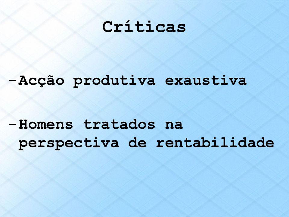 Críticas Acção produtiva exaustiva