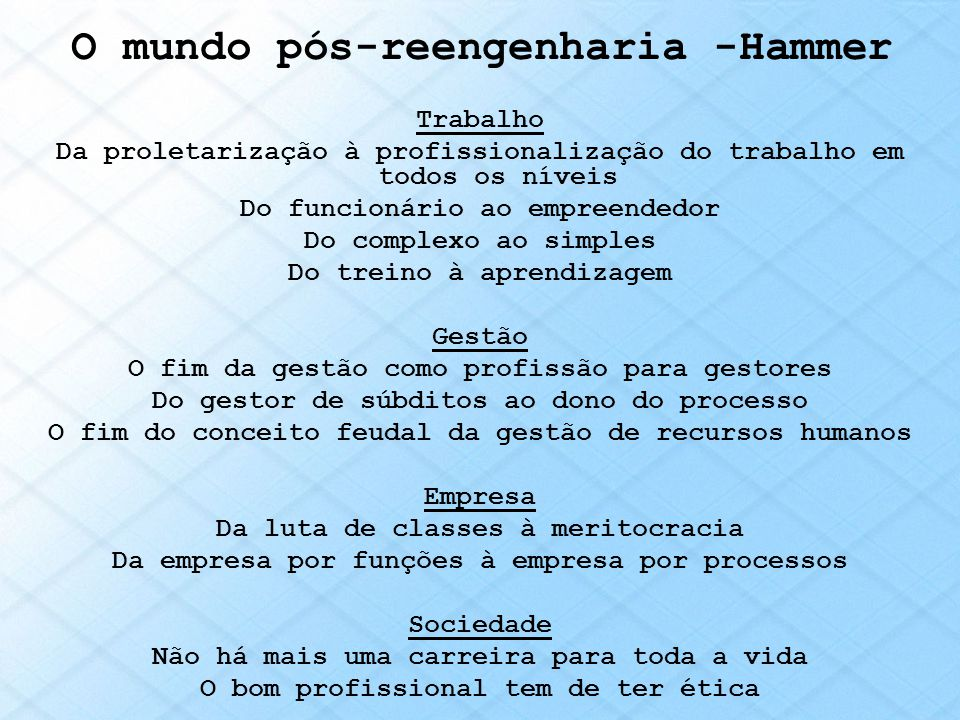 O mundo pós-reengenharia -Hammer