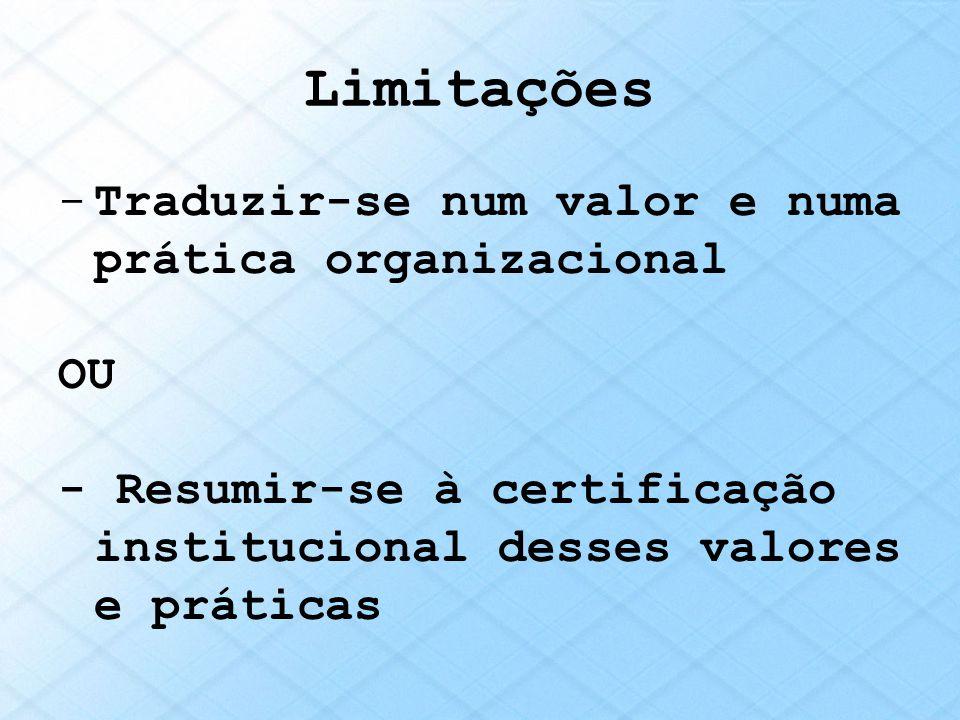 Limitações Traduzir-se num valor e numa prática organizacional OU