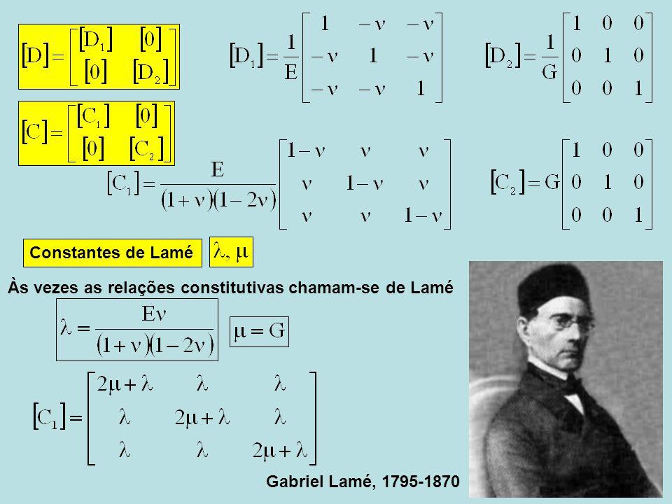 Constantes de Lamé Às vezes as relações constitutivas chamam-se de Lamé Gabriel Lamé, 1795-1870