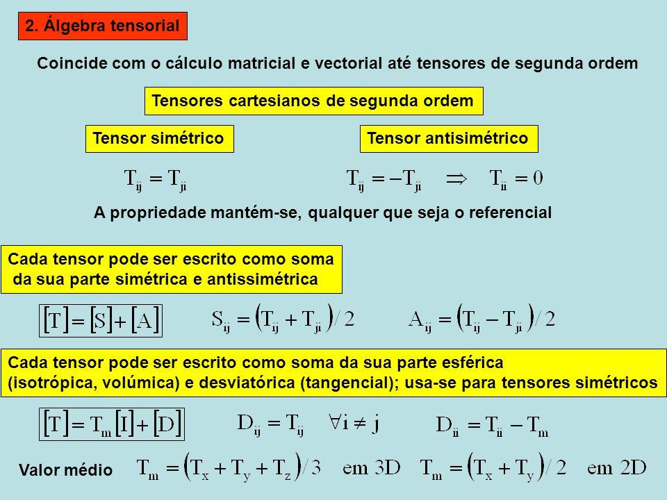 2. Álgebra tensorial Coincide com o cálculo matricial e vectorial até tensores de segunda ordem. Tensores cartesianos de segunda ordem.