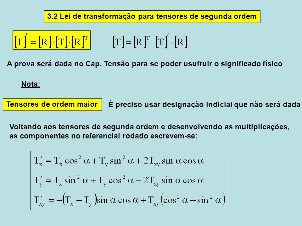 3.2 Lei de transformação para tensores de segunda ordem