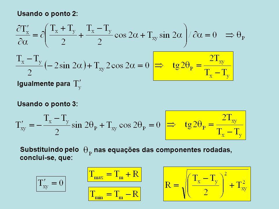 Usando o ponto 2: Igualmente para. Usando o ponto 3: Substituindo pelo. nas equações das componentes rodadas,