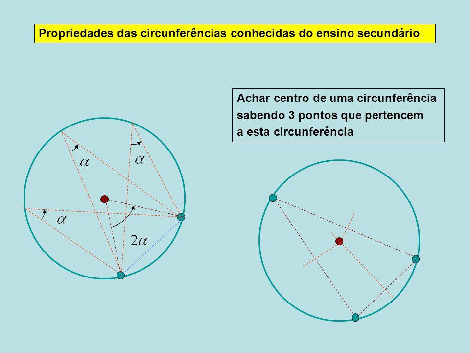 Propriedades das circunferências conhecidas do ensino secundário