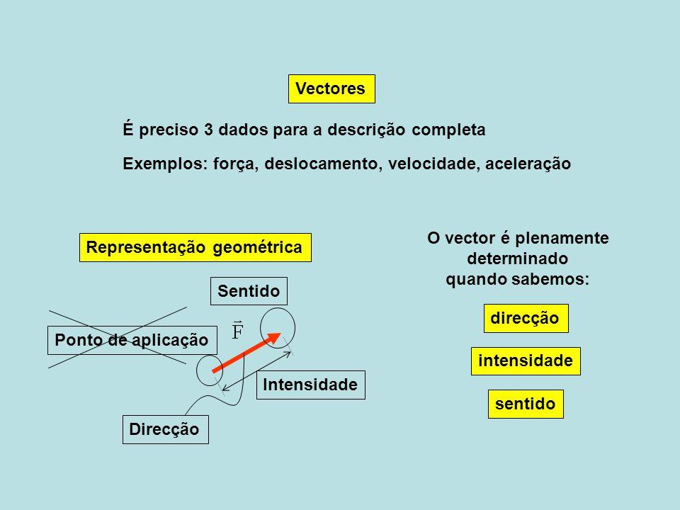 Vectores É preciso 3 dados para a descrição completa. Exemplos: força, deslocamento, velocidade, aceleração.