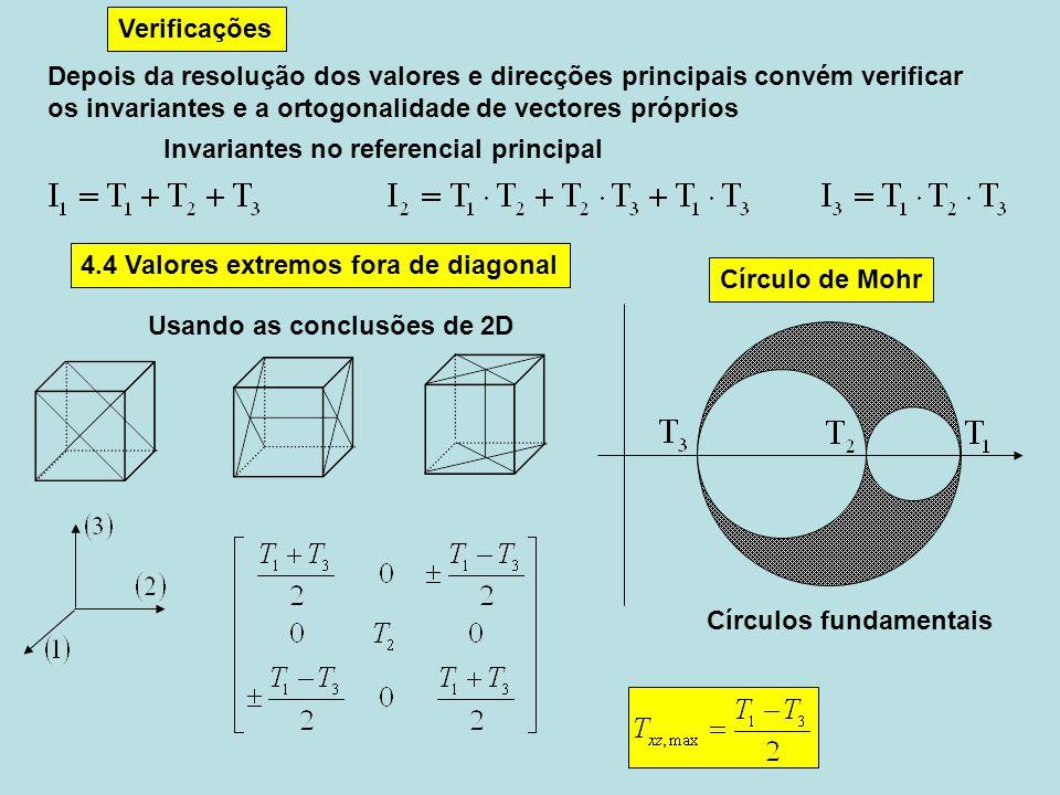 Verificações Depois da resolução dos valores e direcções principais convém verificar. os invariantes e a ortogonalidade de vectores próprios.