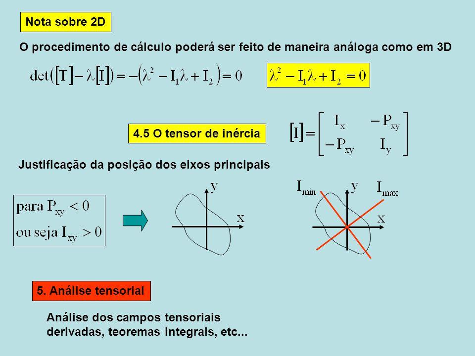 Nota sobre 2D O procedimento de cálculo poderá ser feito de maneira análoga como em 3D. 4.5 O tensor de inércia.