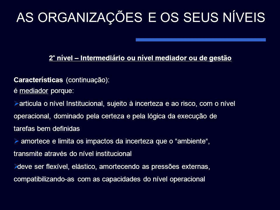 2° nível – Intermediário ou nível mediador ou de gestão