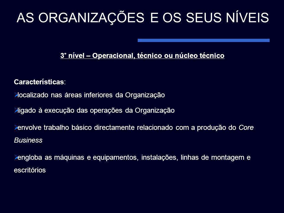 3° nível – Operacional, técnico ou núcleo técnico