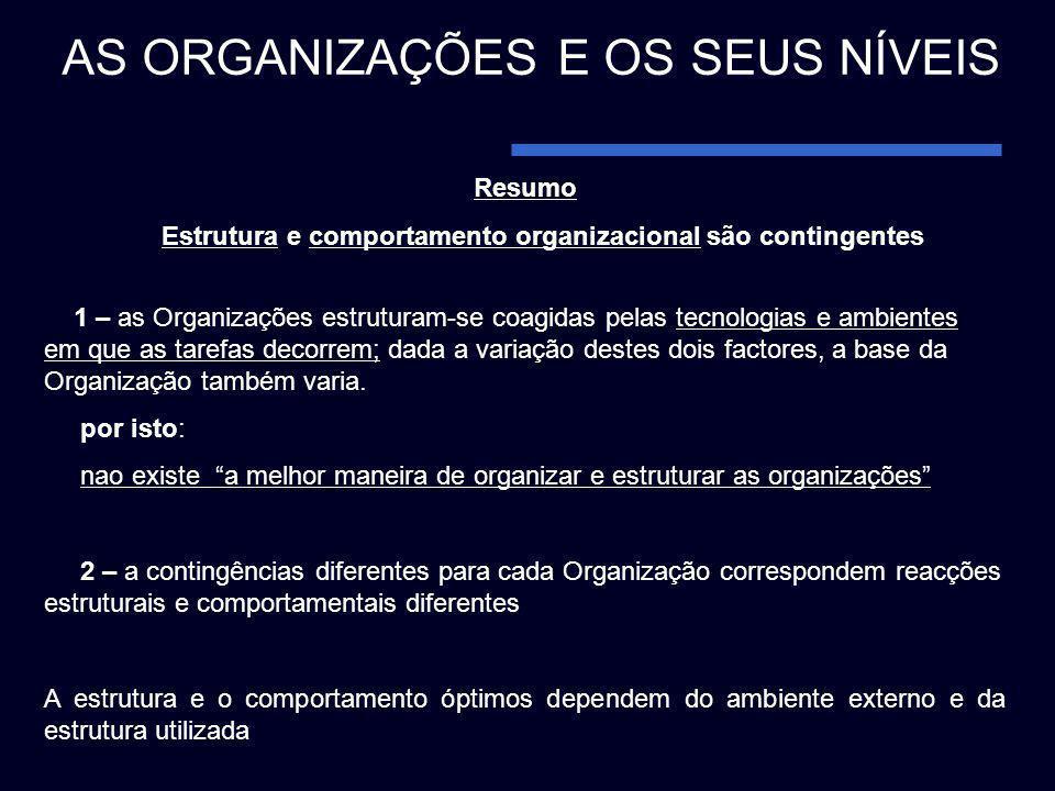 Estrutura e comportamento organizacional são contingentes