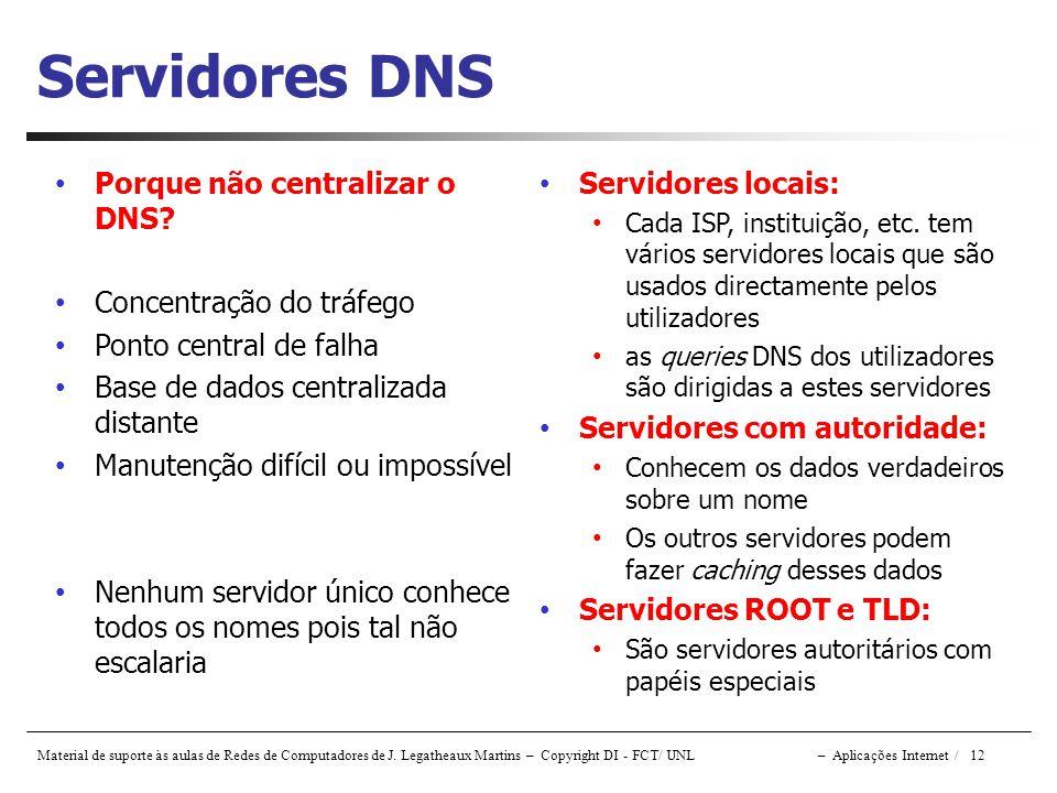 Servidores DNS Porque não centralizar o DNS Concentração do tráfego