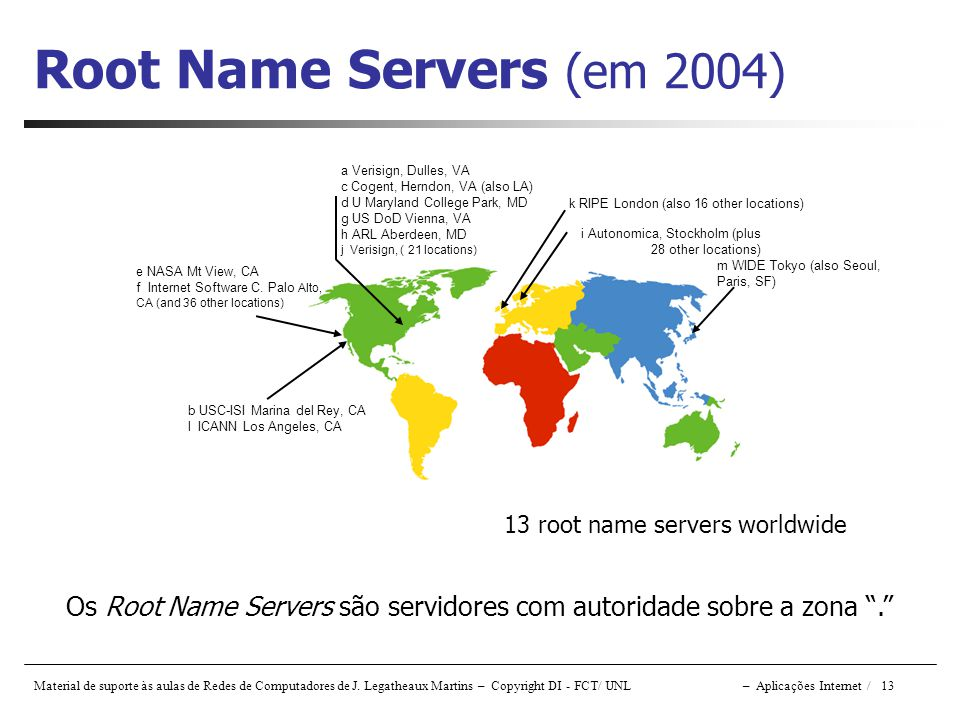 Root Name Servers (em 2004) a Verisign, Dulles, VA. c Cogent, Herndon, VA (also LA) d U Maryland College Park, MD.