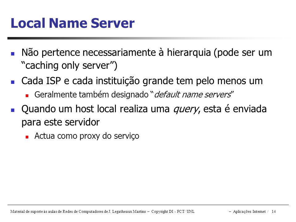 Local Name Server Não pertence necessariamente à hierarquia (pode ser um caching only server ) Cada ISP e cada instituição grande tem pelo menos um.