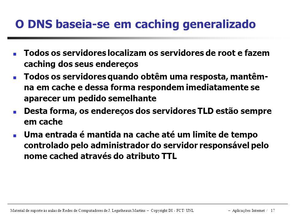 O DNS baseia-se em caching generalizado