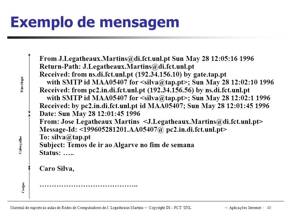 Exemplo de mensagem From J.Legatheaux.Martins@di.fct.unl.pt Sun May 28 12:05:16 1996. Return-Path: J.Legatheaux.Martins@di.fct.unl.pt.