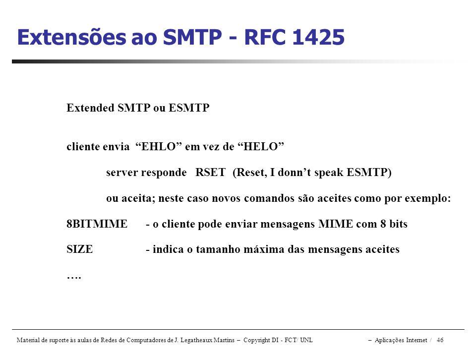 Extensões ao SMTP - RFC 1425 Extended SMTP ou ESMTP