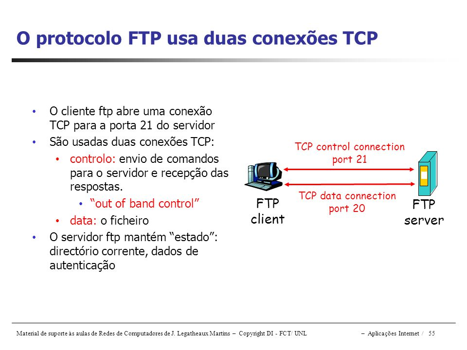 O protocolo FTP usa duas conexões TCP
