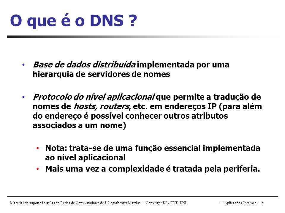 O que é o DNS Base de dados distribuída implementada por uma hierarquia de servidores de nomes.