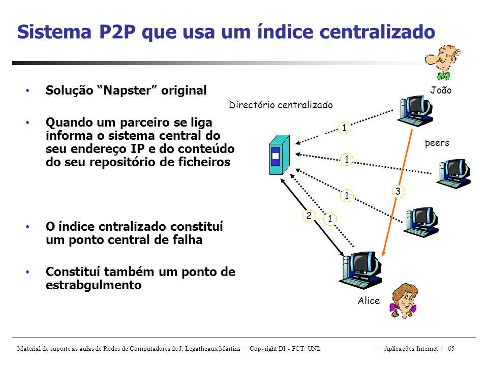 Sistema P2P que usa um índice centralizado