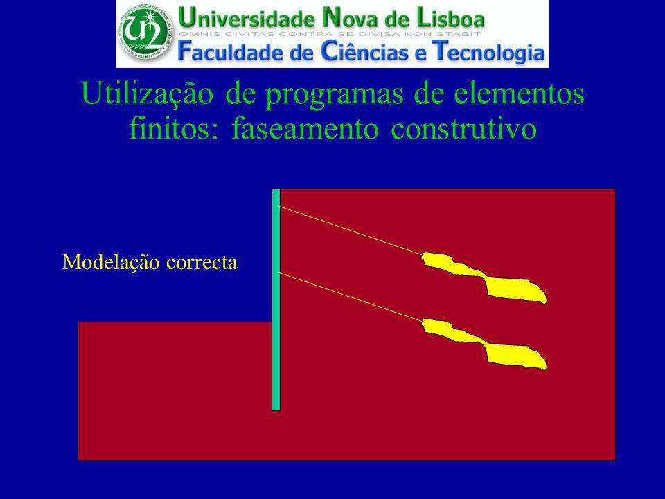 Utilização de programas de elementos finitos: faseamento construtivo
