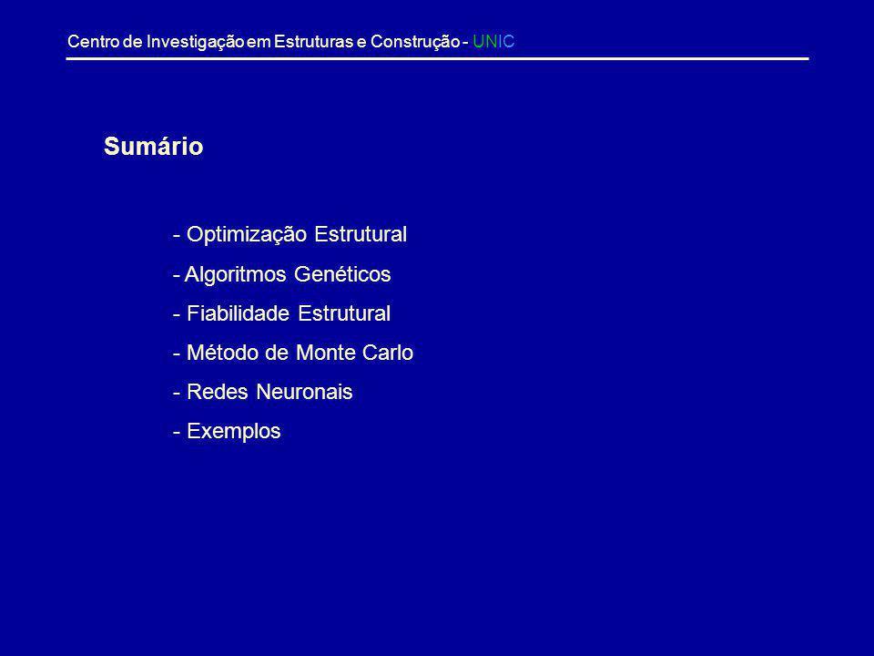 Sumário - Optimização Estrutural - Algoritmos Genéticos
