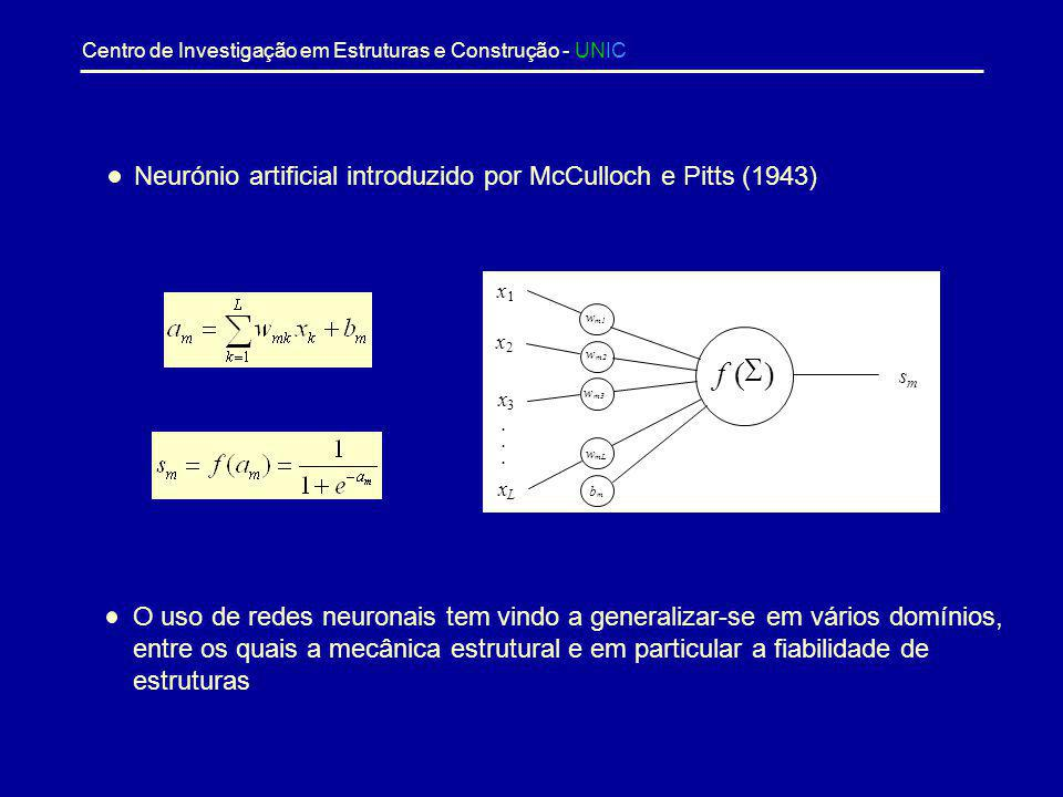 f ( S ) Neurónio artificial introduzido por McCulloch e Pitts (1943)
